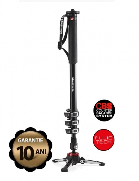 Pachet Manfrotto MVMXPROA4 Monopied fluid + Manfrotto MVH500AH cap trepied video + Manfrotto geanta trepied 80 cm Non Padded 0