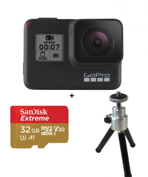 GoPro Camera de Actiune 4K Hero 7cu card  + Selfie Stick 0