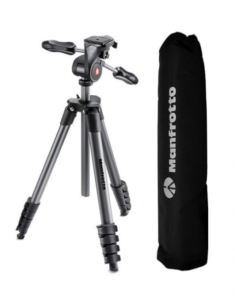 Pachet Manfrotto Compact Advanced kit trepied foto cu cap 3-Way si husa + Manfrotto NX Sling pentru DSLR