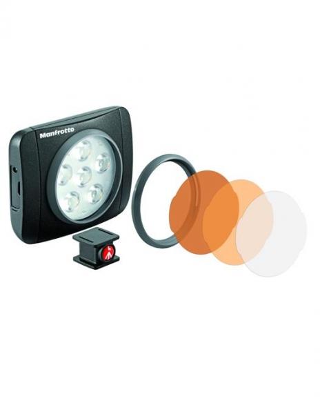 Pachet Manfrotto LED Lumimuse 6 + Manfrotto Pixi mini trepied foto Negru